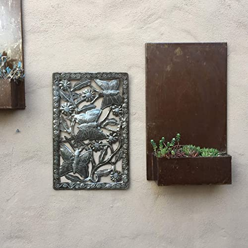 Artistic Butterfly Garden Wall Art, Haitian Metal, Recycled Oil Drums, 11 x 17 Inches