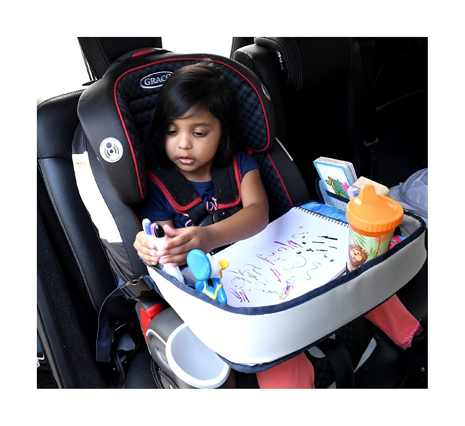 Lap Desk Travel Tray For Kids – Car Seat Activity Tray For Children & Toddlers – Multipurpose Backseat Entertainment & Organizer Accessory - Waterproof Material, Mesh Pockets & Cup Holder