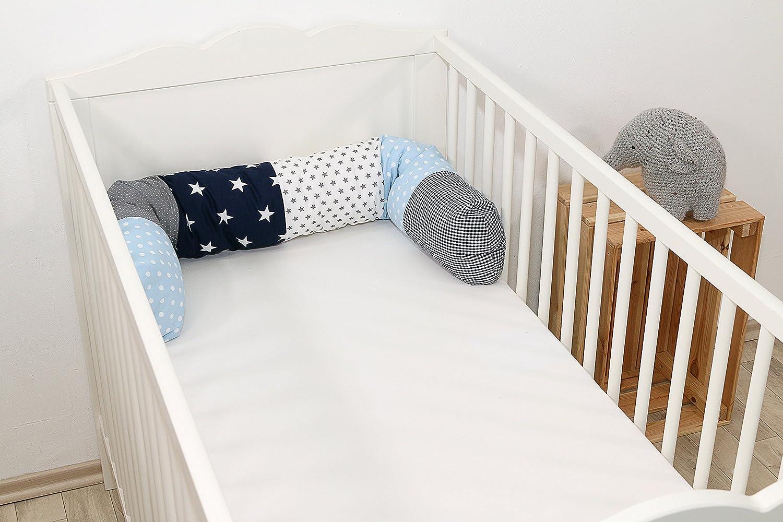 360x30 cm Contour de lit complet en coton molletonn/é, Motifs /étoiles /& pois ULLENBOOM /® Tour de lit b/éb/é for/êt p/étrole bleu