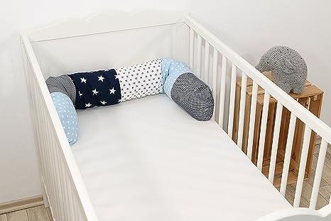 Cojín protector para cuna de ULLENBOOM ®, cojín chichonera en forma de serpiente azul claro azul gris (ideal para proteger al bebé de los barrotes de ...