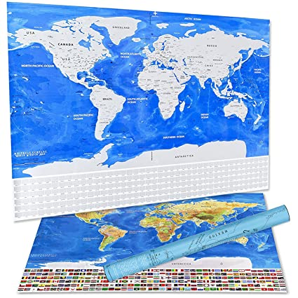 Amazon scratch off world map deluxe travelers wall poster with scratch off world map deluxe travelers wall poster with us states and country flags track gumiabroncs
