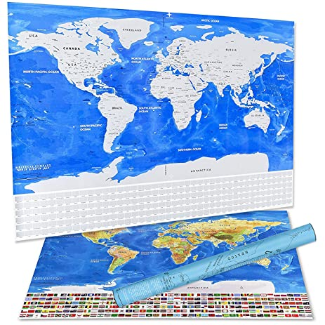 Amazon scratch off world map poster with us states and country scratch off world map poster with us states and country flags track your adventures gumiabroncs Gallery