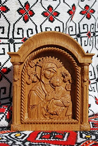 Our Lady Of Perpetual Help Icon Virgin MAry Wood Carving Religious Gifts For Her Birthday