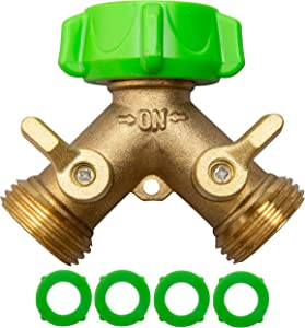 Yanwoo Heavy Duty 2 Way Brass Garden Hose Splitter, Y Valve Hose Connector Tap Splitter with Solid Brass Handle, Pack of 1 (Brass)