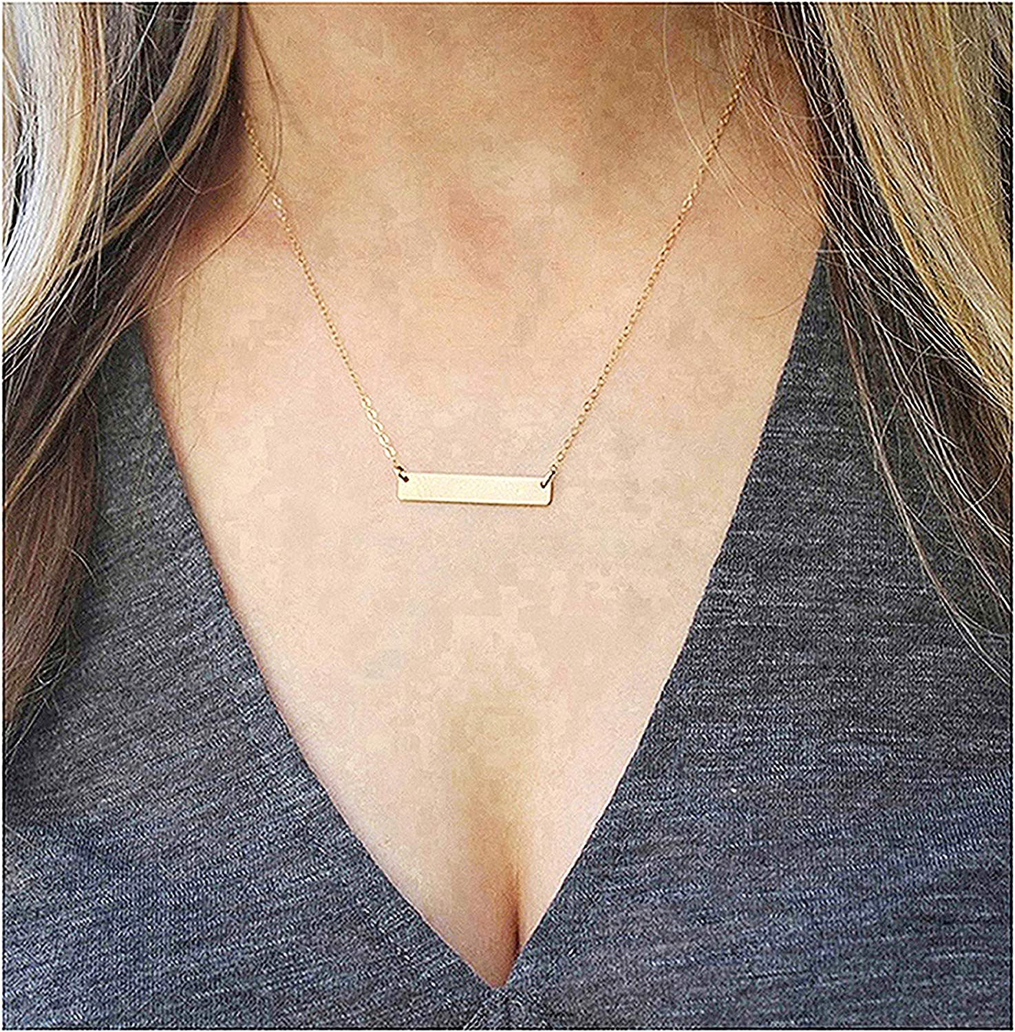 Gold Dainty Vertical Bar Necklace Silver Rose Gold Stainless Steel