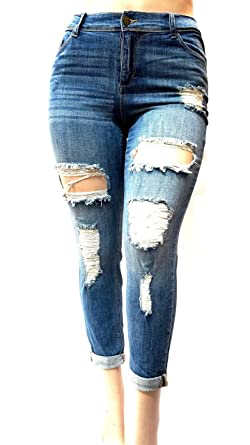 1c17228f151 Image Unavailable. Image not available for. Color  Sneak Peek Stretch  WOMENS PLUS SIZE BLUE Boyfriend Denim Jeans Ripped Distressed