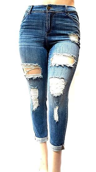 6b0a2982c97 Sneak Peek Stretch WOMENS PLUS SIZE BLUE Boyfriend Denim Jeans ...