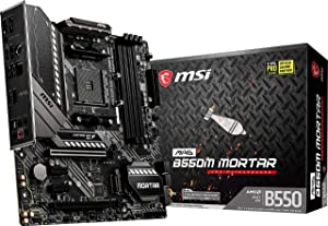 MSI MAG B550M Mortar Gaming Motherboard (AMD AM4, DDR4, PCIe 4.0, SATA 6Gb/s, M.2, USB 3.2 Gen 2, HDMI/DP, Micro-ATX) (MAG B550M Mortar  )