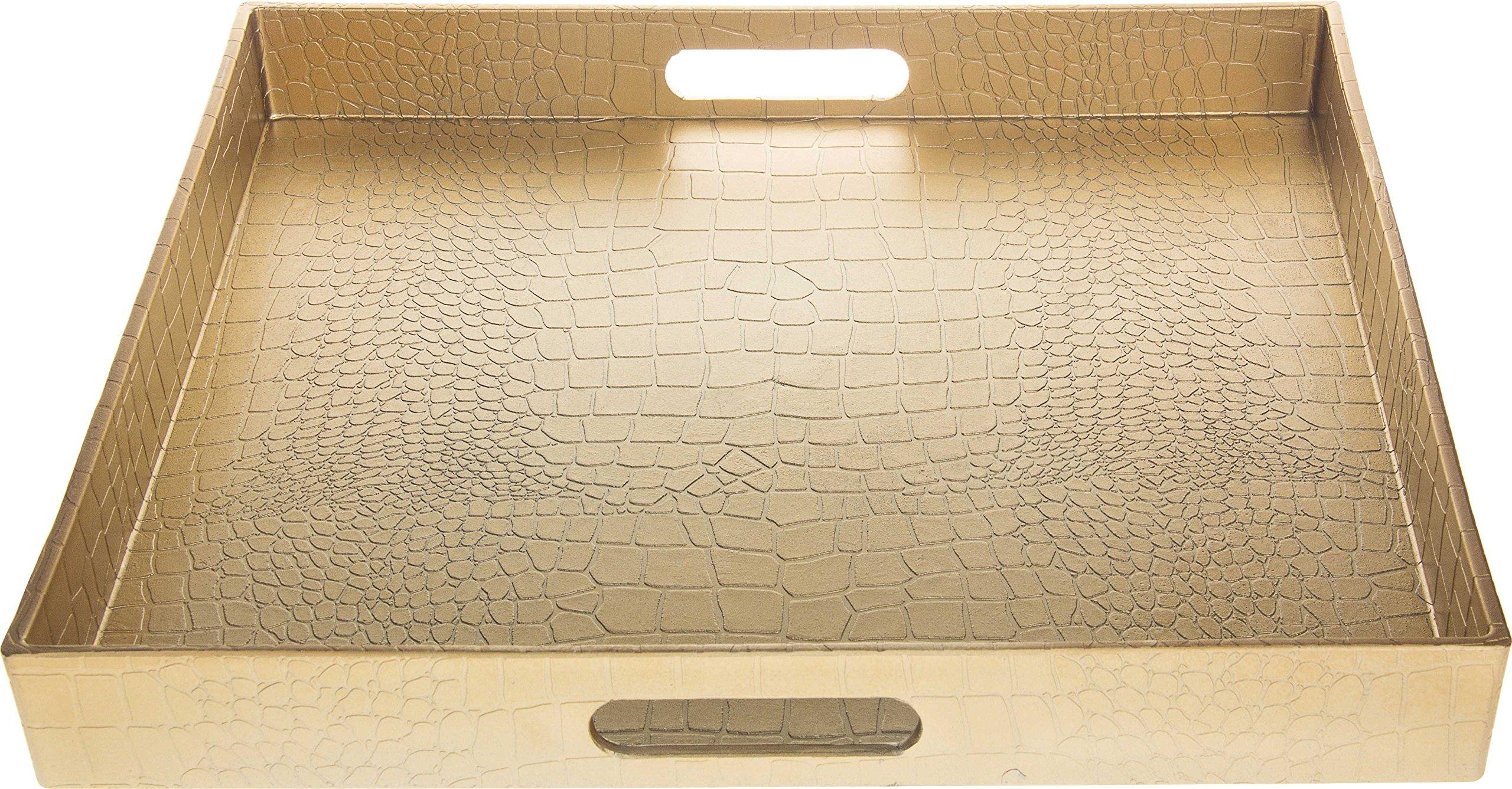 Fantastic: Square Alligator Serving Traywith Matte Finish Design (1, Square Alligator Gold)