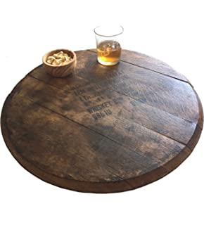 vintage jack whiskey barrel lazy susan 21inches by rustic wall
