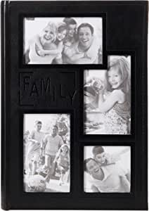 """Pioneer DA-300COL Collage Frame Embossed """"Family"""" Sewn Leatherette Cover 300 Pocket Photo Album, Black"""
