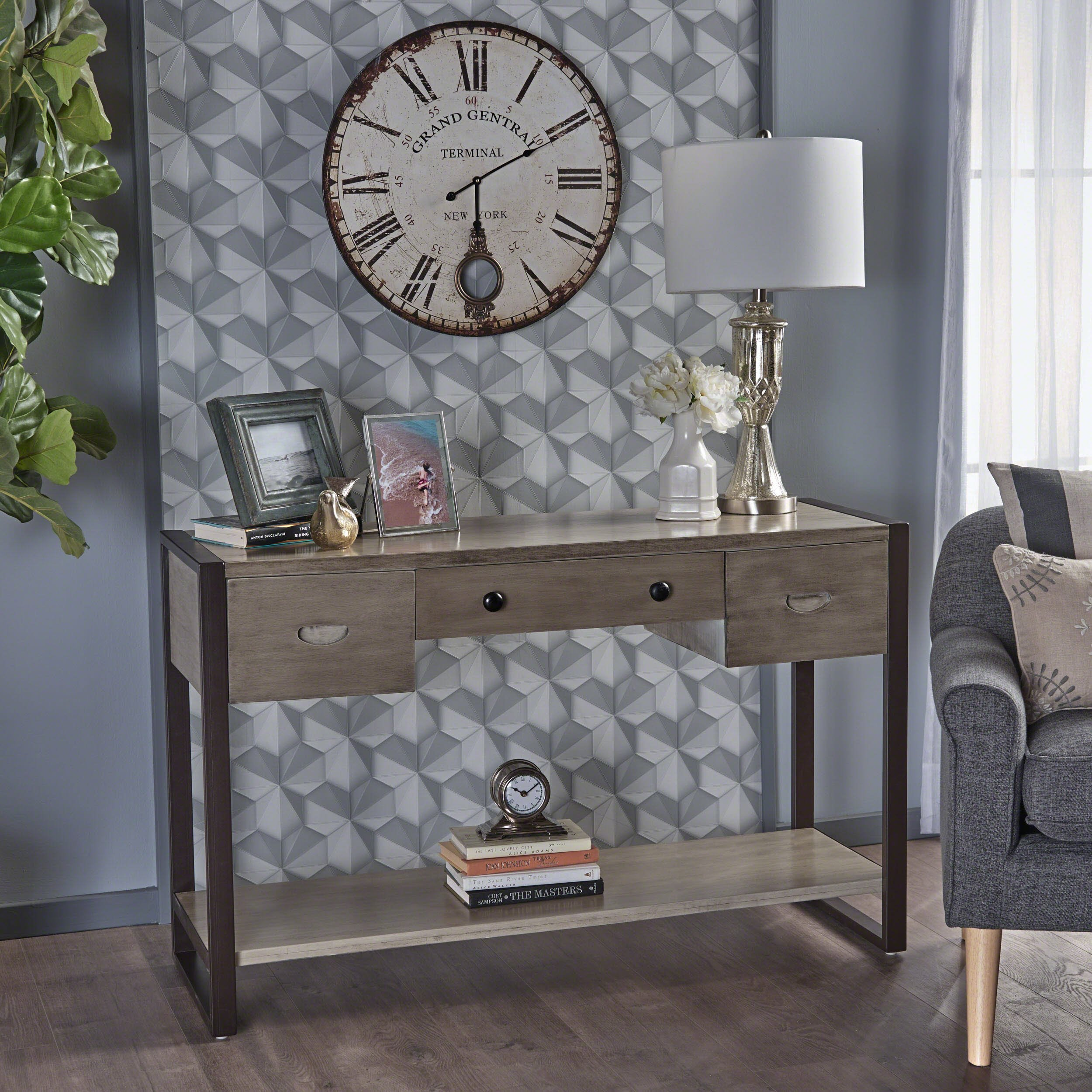 Lester Industrial Metallic Grey Acacia Wood Console Table with Rustic Metal Iron Accents