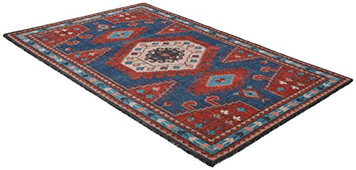 Stone Beam Modern Persian Area Rug, 5 x 8 Foot, Blue and Red Multicolor
