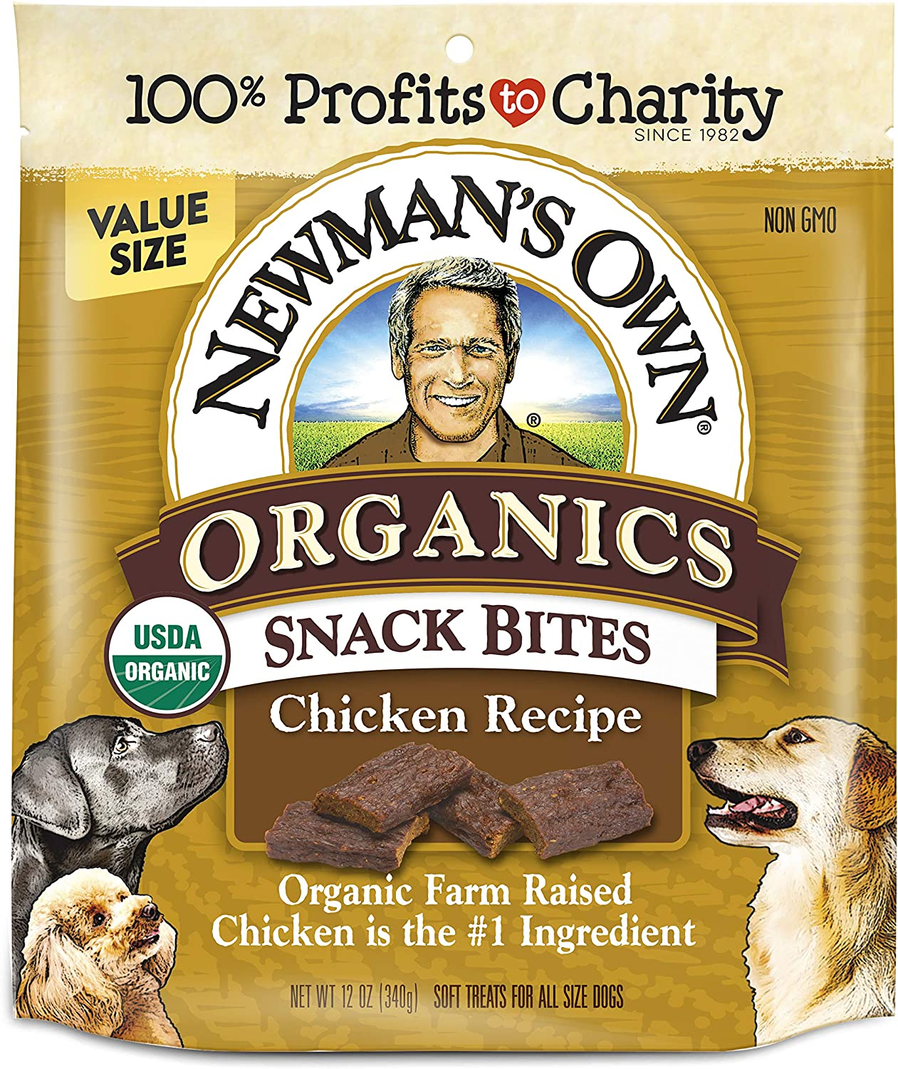 Newman's Own Organic Chicken Recipe Snack Bites for Dogs, 12 oz Bag