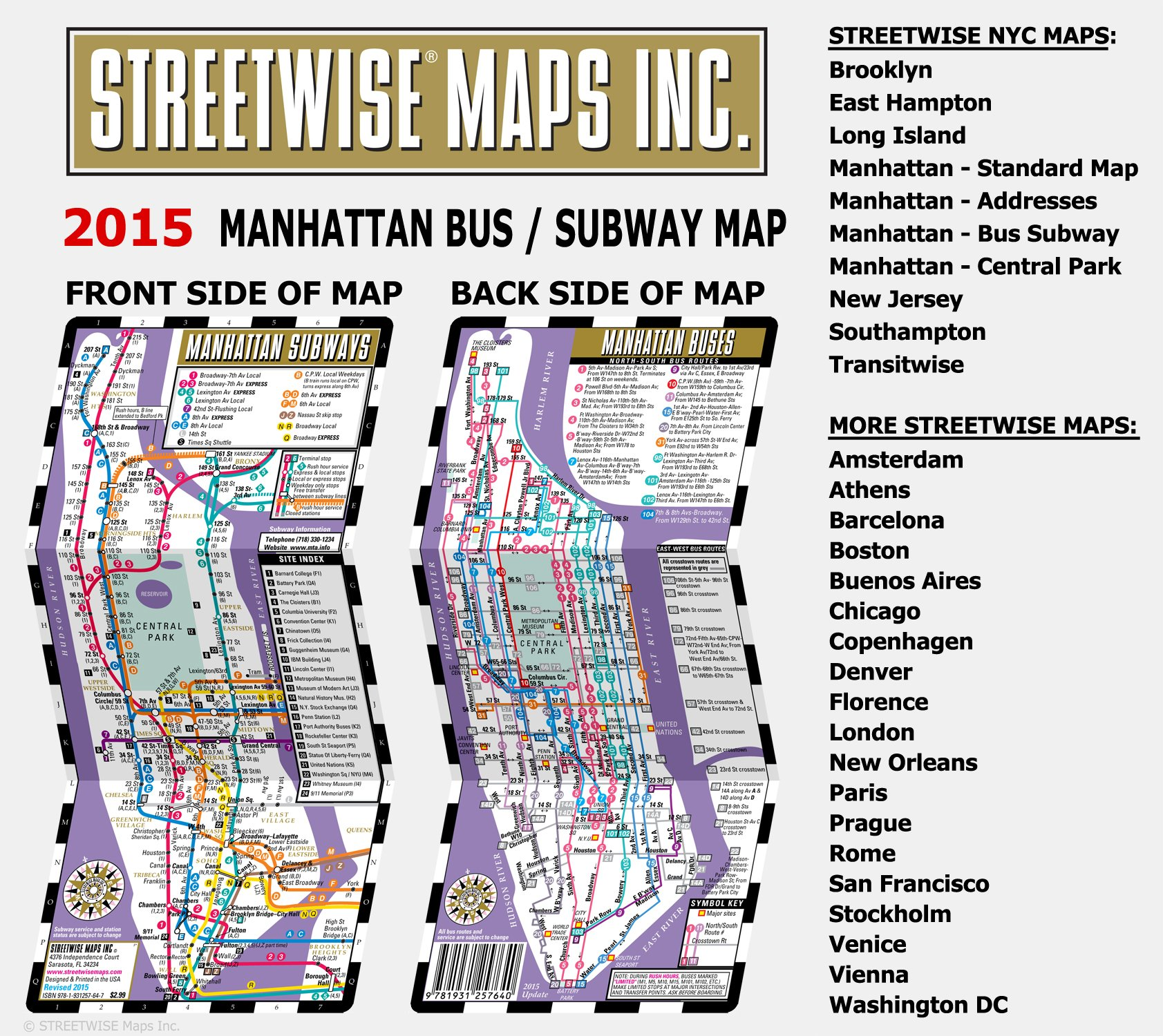 Streetwise Manhattan Bus Subway Map Laminated Metro Map Of