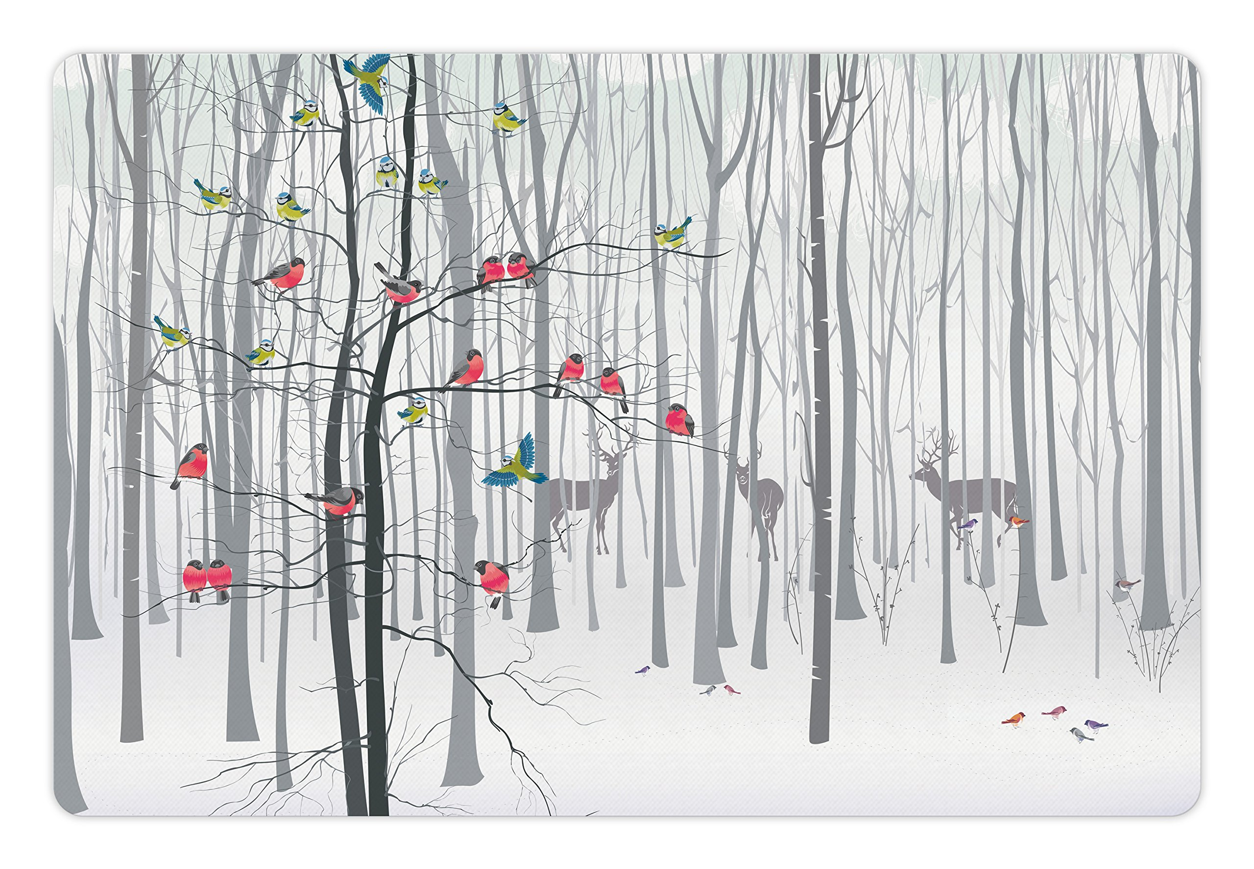 Ambesonne Nature Pet Mat for Food and Water, Winter Animals Colorful Group of Birds Sitting on Tree Forest Design with Reindeers, Rectangle Non-Slip Rubber Mat for Dogs and Cats, Multicolor