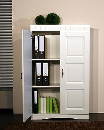 Büroschrank weiß  4132-2 Aktenschrank im Landhaus-Stil, in weiß: Amazon.de: Küche ...