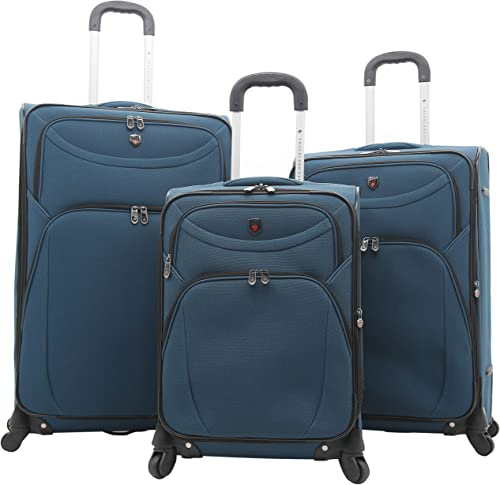 Travelers Club Expandable Spinner Luggage, Teal Blue, 3 Piece Set