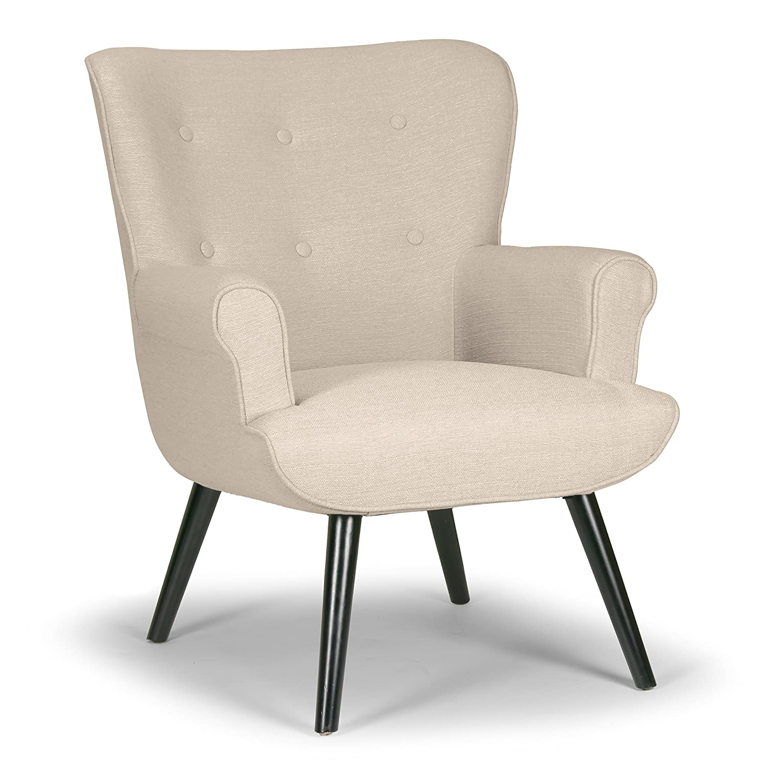Amazon Alexi Modern Beige Fabric Wing Chair with Button Tufted