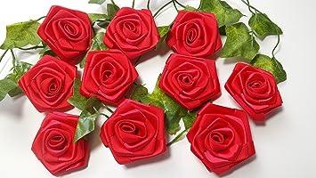 5 5 Cm Grosse Rote Rosen Aus Satinband Zur Tischdekoration Hochzeit