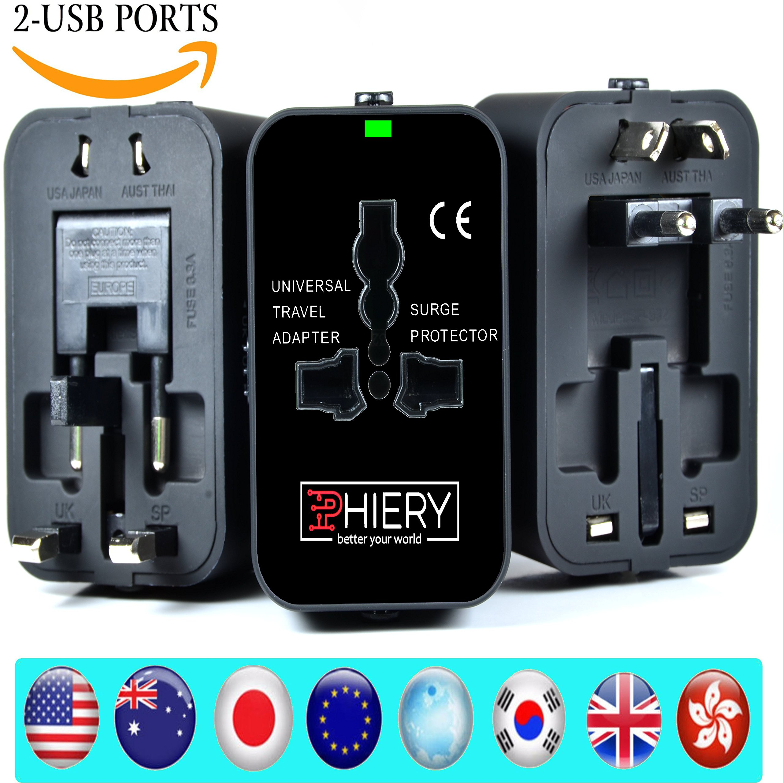 PHIERY Universal Travel Adapter, International Power Adapter Plug and European Wall Charger (USA, UK, EU, AU, US, Europe, Asia) Dual USB to 2.1A 1.0A, Travel Accessories Pouch - Better Your World