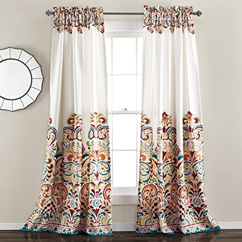 Lush Decor Clara Curtains Paisley Damask Print Bohemian Style Room Darkening Window Panel Set