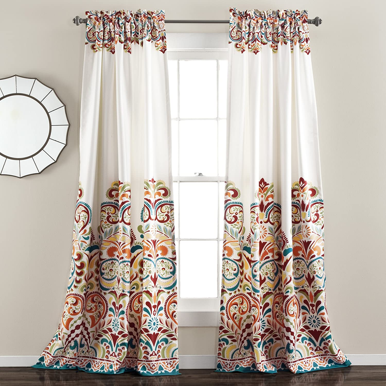 "Lush Decor Clara Curtains Paisley Damask Print Bohemian Style Room Darkening Window Panel Set for Living, Dining, Bedroom (Pair) 95"" x 52"" Turquoise and Tangerine"