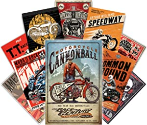 HK STUDIO Vintage Poster | Old School, Retro Posters | Motorcycle Vintage Posters for Wall Decor, Garage Decor, Vintage Highway, Biker, Racing Pictures for Wall Collage Room Decor, Artistic Retro Decor Must-have in Coffee Shop, Pub Wall, Pack 12