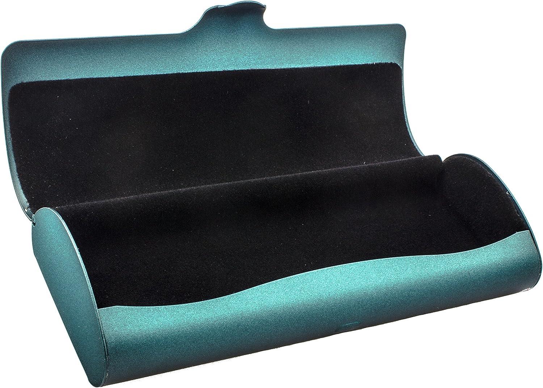 Edison /& King Custodia per occhiali dal look metallico con interno in velluto in colori diversi nero opaco//blu