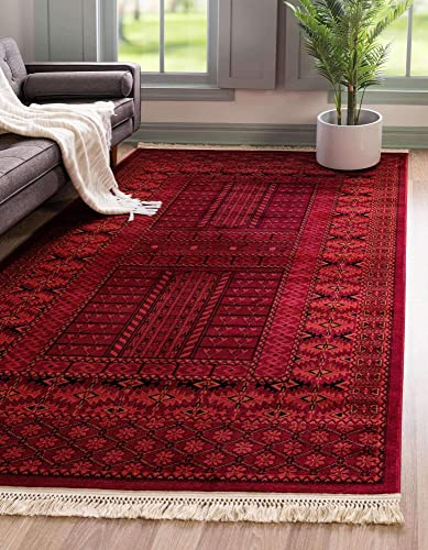 Unique Loom Tekke Collection Tribal Traditional Torkaman Red Area Rug 6' 0 x 9' 0