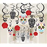 30 piece day of the dead black and bone foil swirls value pack kit - Day Of The Dead Halloween Decorations