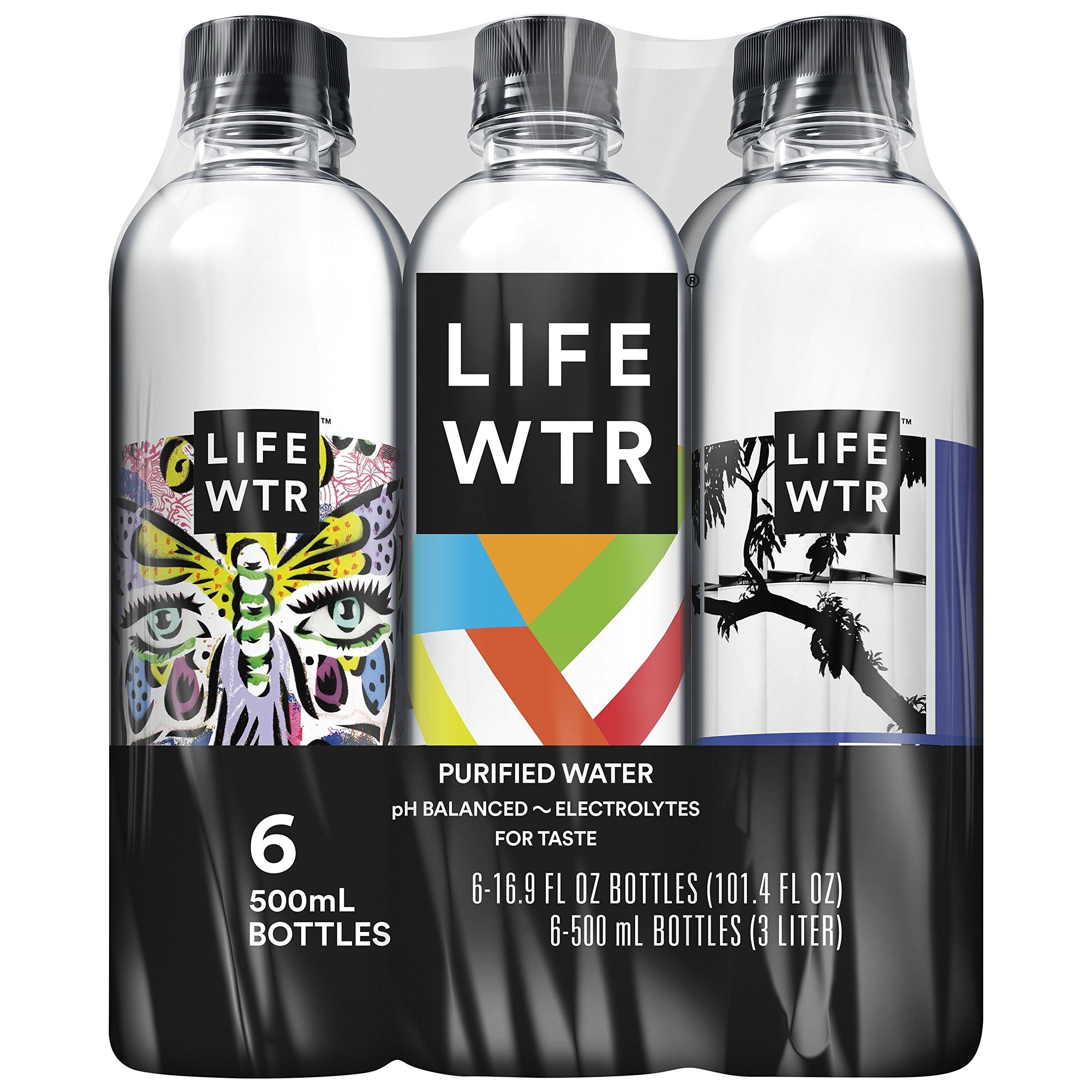 LIFEWTR, Premium Purified Water, pH Balanced with Electrolytes For Taste, 16.9 Fl Oz (6 Bottles) (Packaging May Vary)