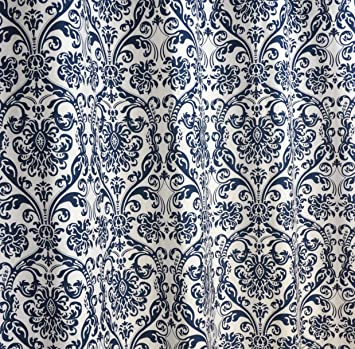 Navy Blue And White Damask D One Rod Pocket Curtain Panel  Inches Long X