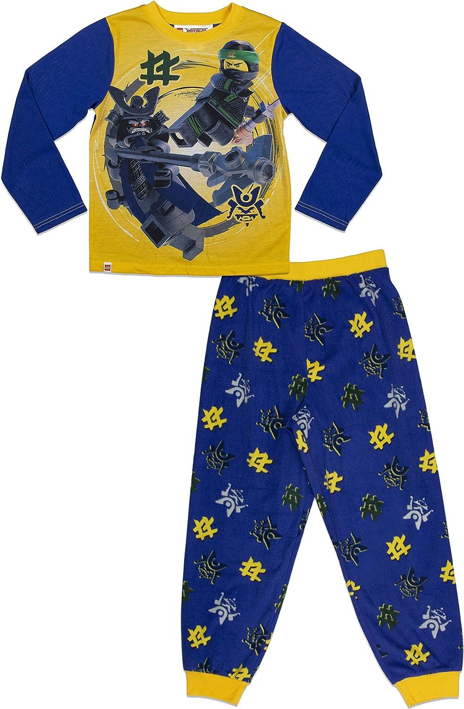 4//5 LEGO Ninjago Big Boys Pajama Blue Yellow Sleeve Long Pants 2 Piece PJ Set