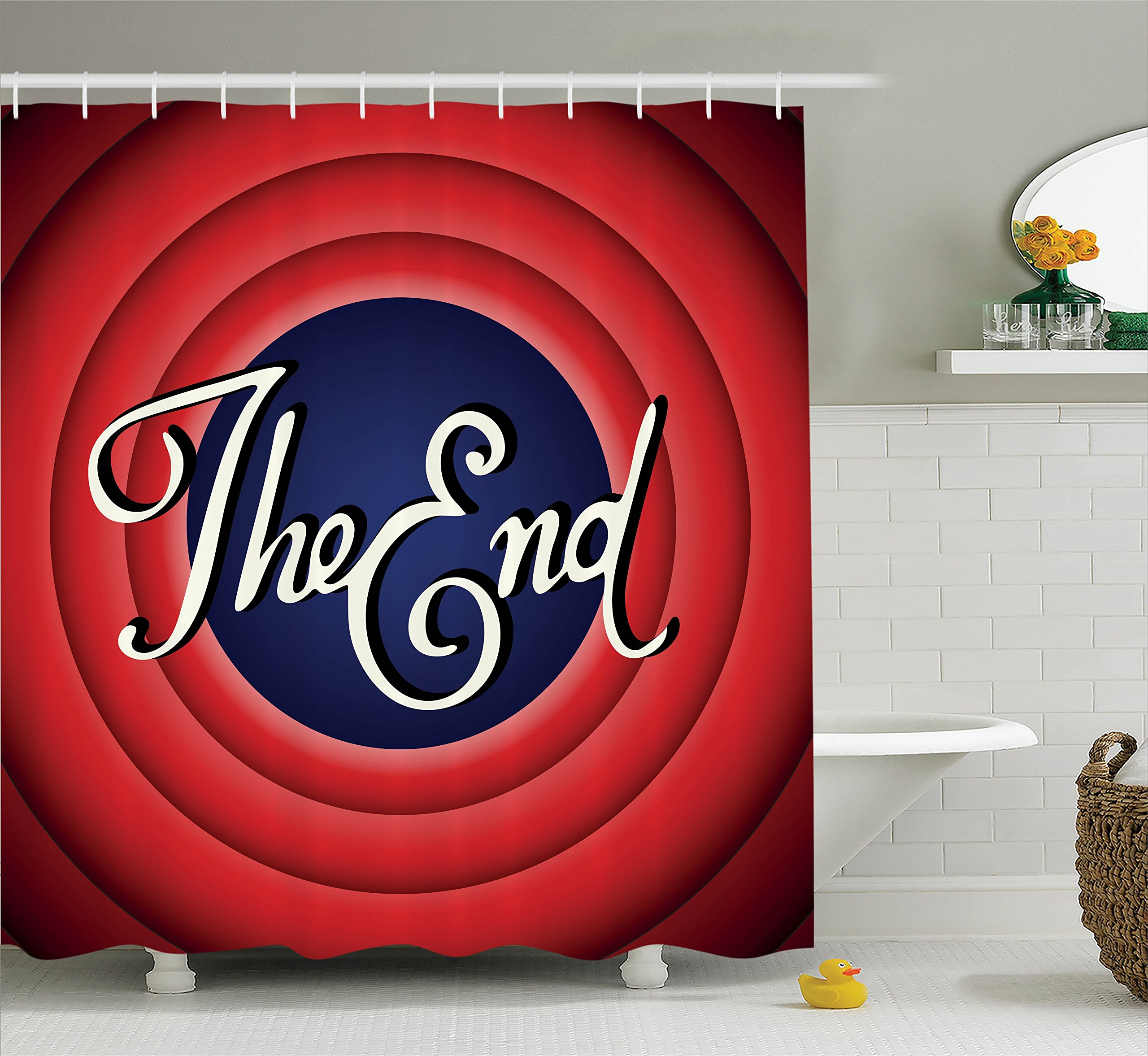 Ambesonne 1950s Decor Collection, Movie Ending Screen Academy Dated Broadcast Entertainment Show Oscar Cinema Frame Image, Polyester Fabric Bathroom Shower Curtain, 84 Inches Extra Long, Red Navy