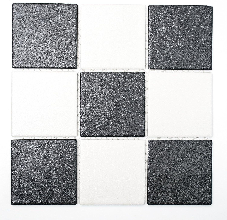 Mosaikfliesen Fliesen Mosaik Boden K/üche Bad WC Wohnbereich Fliesenspiegel Keramik Quadrat schwarz wei/ß rutschhemmend R10B 6mm #264