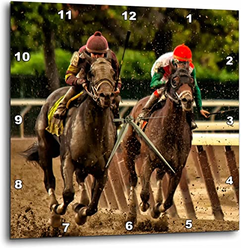 3dRose DPP_98373_2 Two Horses and Jockeys Racing to Finish Line, Mud Flying.-Wall Clock, 13 by 13-Inch
