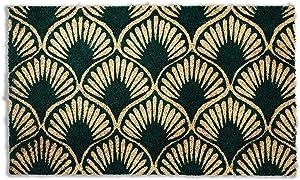 Avera Products | Art Deco Shell, Natural Coir Fiber Doormat, Anti-Slip PVC Mat Back
