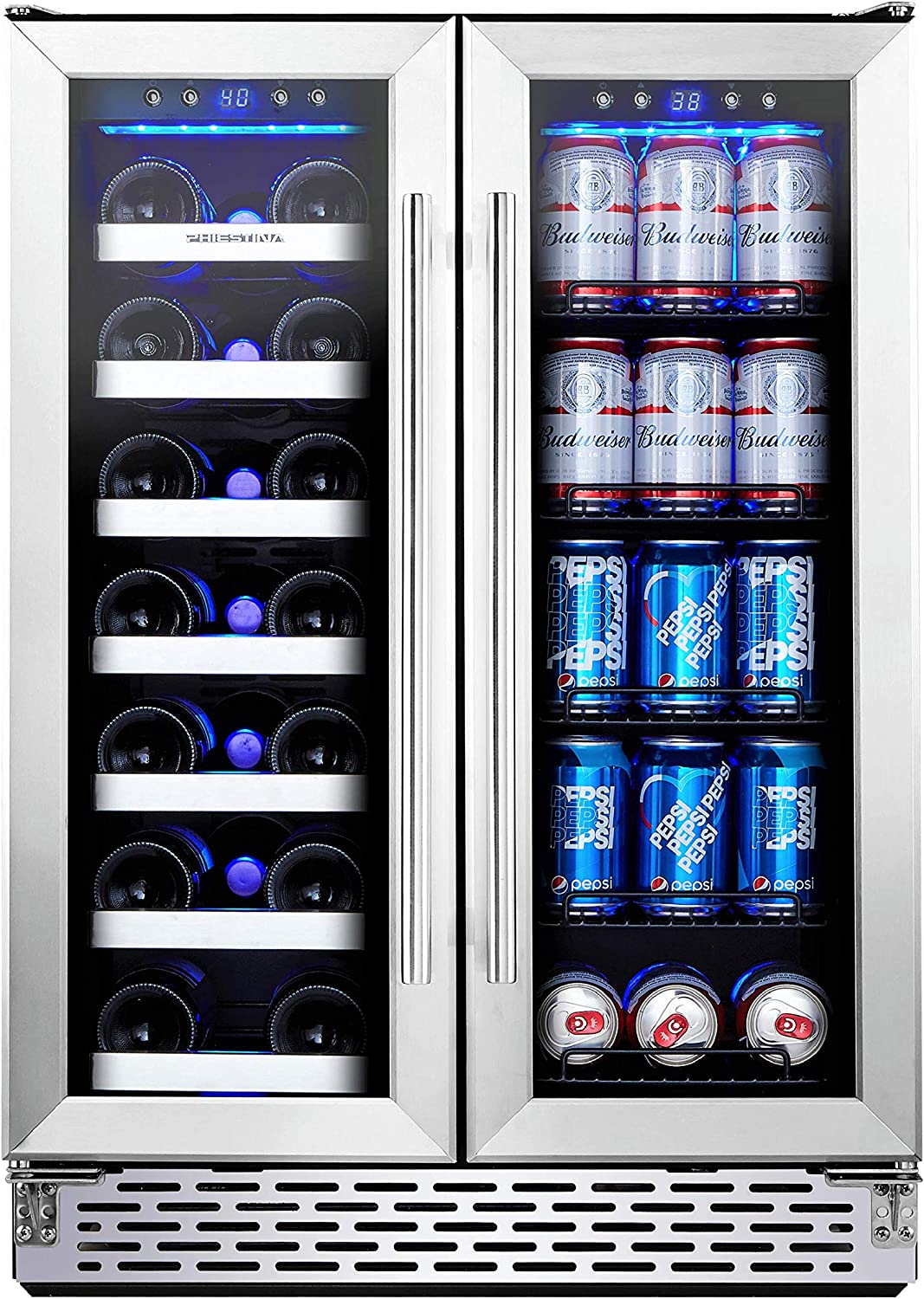Phiestina Wine And Beverage Refrigerator 24 Inch Built In Dual Zone Wine Beer Cooler Refrigerator Free Standing French Door Drink Fridge With Digital Memory Temperature Control Appliances