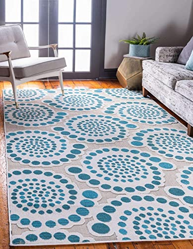Unique Loom Outdoor Modern Collection Carved Circles Transitional Indoor and Outdoor Flatweave Cream Area Rug 9' 0 x 12' 0