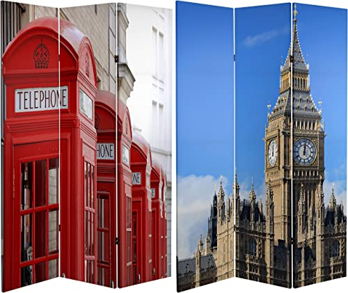 Oriental Furniture 6 ft. Tall Double Sided London Room Divider – Big Ben Phone Booths