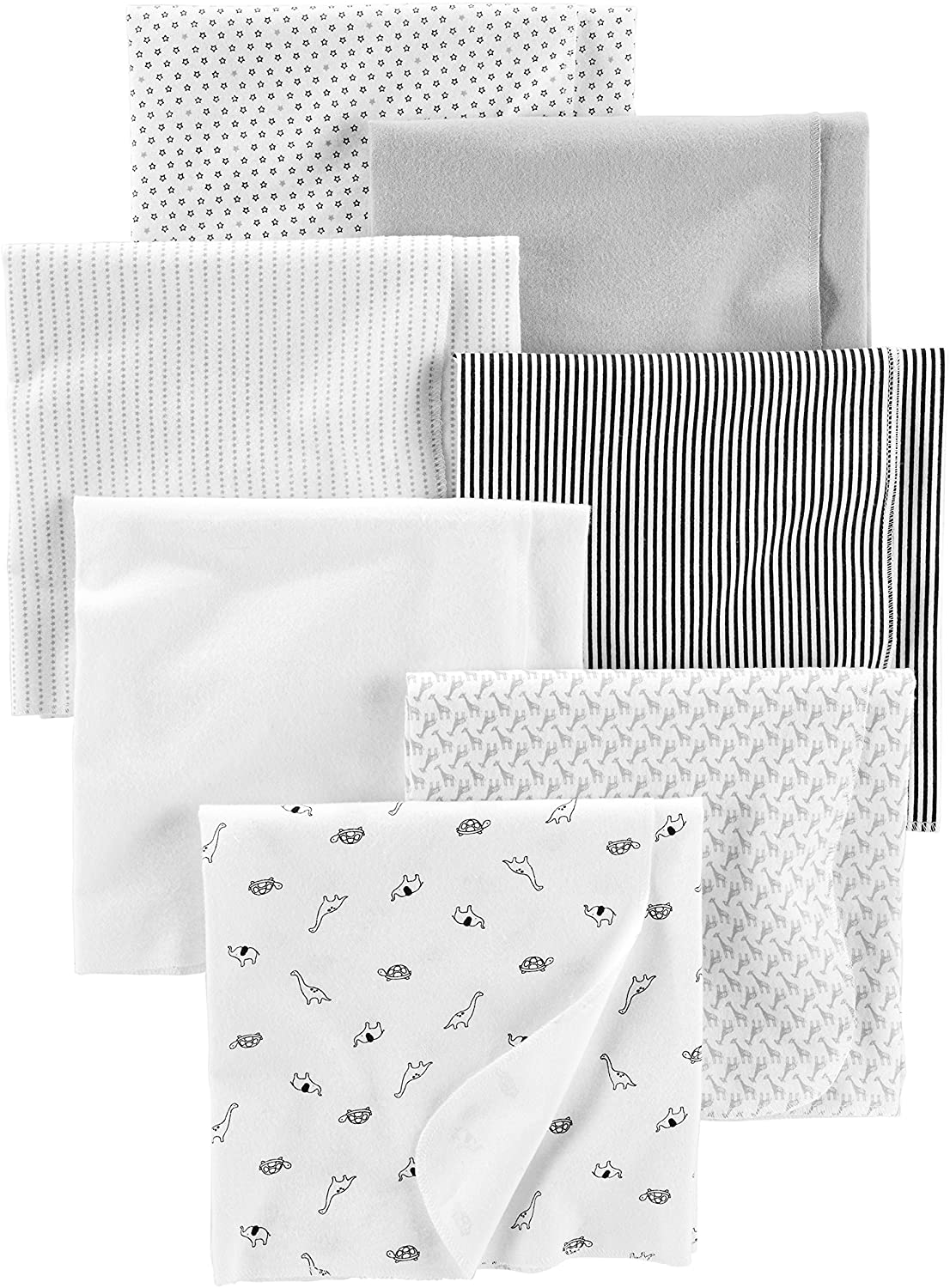 Simple Joys by Carter's Baby Unisex 7-Pack Flannel Receiving Blankets, Gray/White/Black, One Size: Clothing