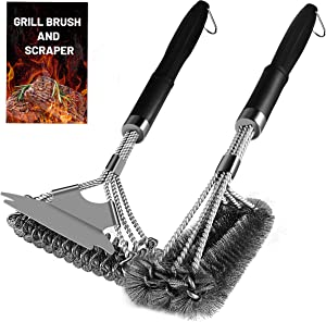 Stainless Grill Brush and Scraper - 2 Pieces of Barbecue Set, Include a Strong and Safe Bristle BBQ Cleaning Brush and a Firm Bristle-Free Brush with a Durable Scraper