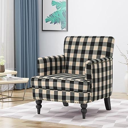 Eve Tufted Fabric Club Chair, Black Checkerboard