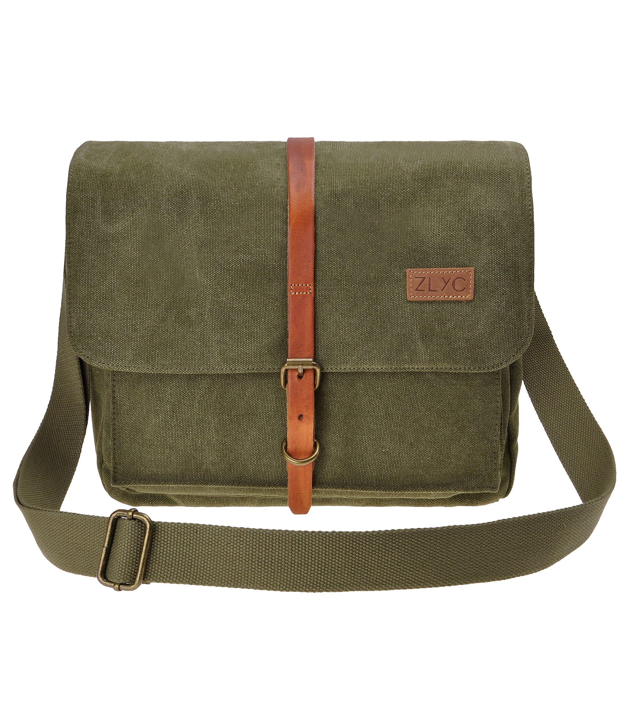 Canvas Camera Bag ZLYC Leather Trim DSLR Camera Case Vintage Laptop Shoulder Messenger Purse for Women Men, Army Green
