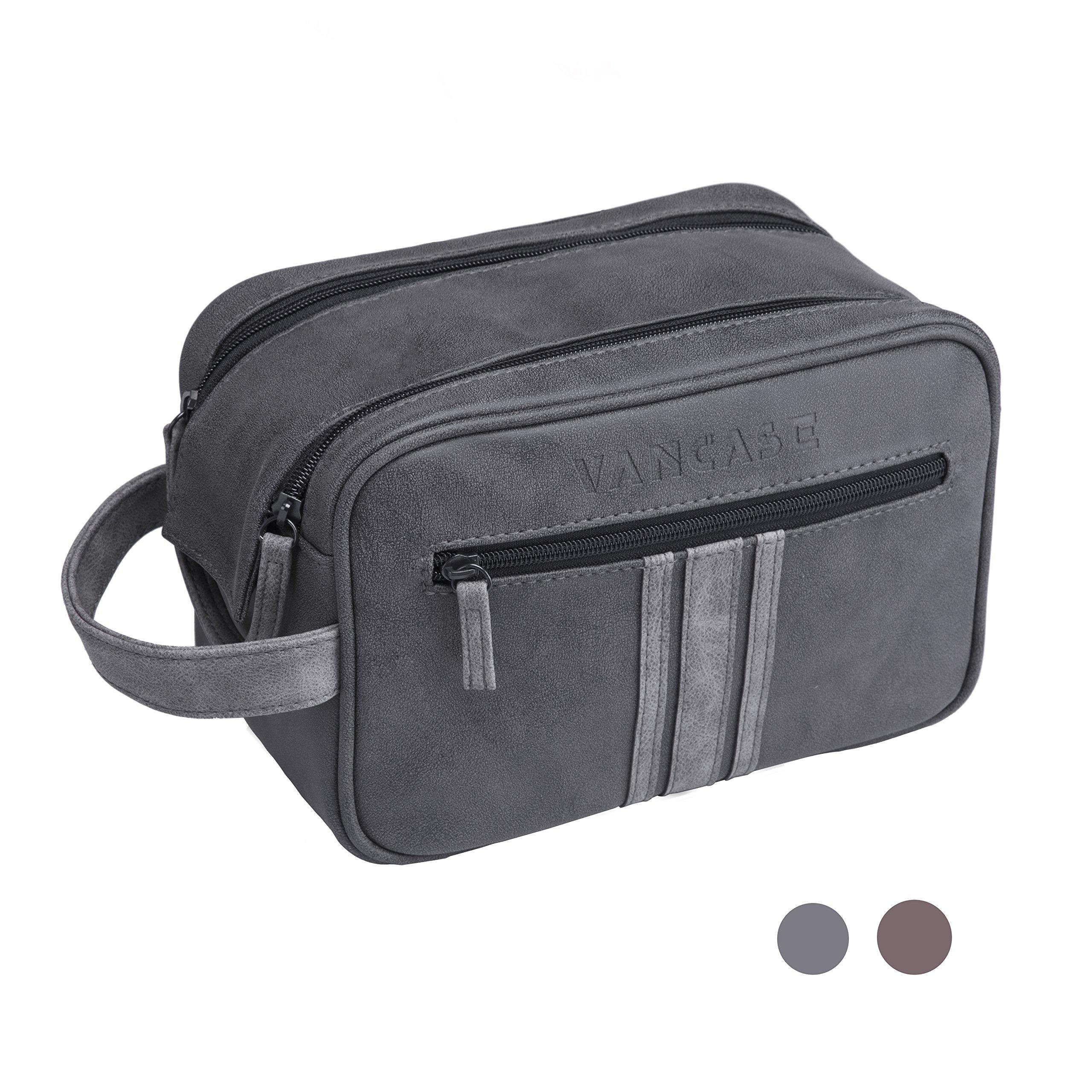 VANCASE Hanging Toiletry Bag for Men Leather Wahs Bag Shaving Kit//Bathroom Shower Dopp Bag//Travel Accessories Organizer//Great Gift