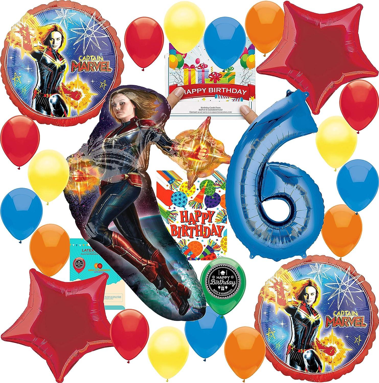キャプテンマーベルパーティー用品 6歳の誕生日バルーンデコレーションバンドル 誕生日カードと8つのお菓子バッグ付き   B07PQNS5R5