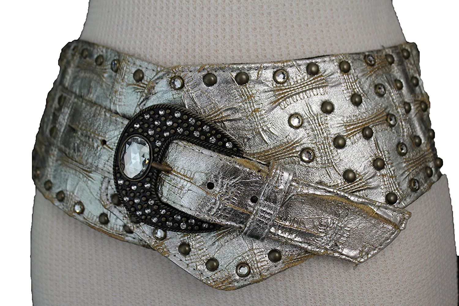TFJ Women's Western Fashion Belt Extra Wide Faux Leather Size Medium Silver Color