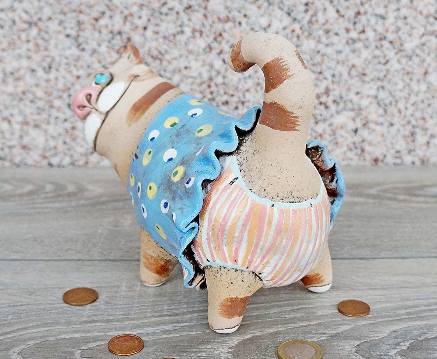 One of kind Handmade Piggy Bank Funny Cat ceramic sculpture Coin bank Gift birthday wedding