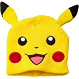 POKEMON Unisex Pikachu with Ears Beanie Hat, Yellow, One Size